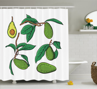 Exotic Fruits on Branch Shower Curtain