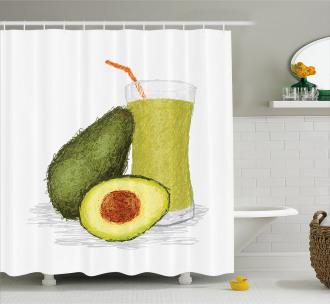Fresh Avocado Smoothie Shower Curtain