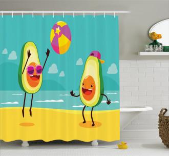 Summer Beach Volleyball Shower Curtain