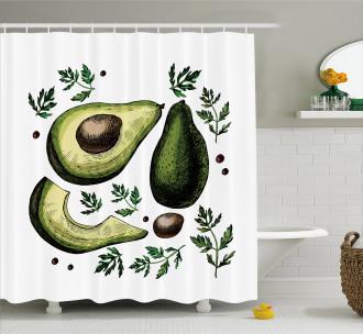 Tropical Fruit Elements Shower Curtain