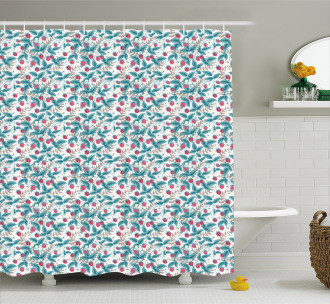 Spring Season Raspberries Shower Curtain