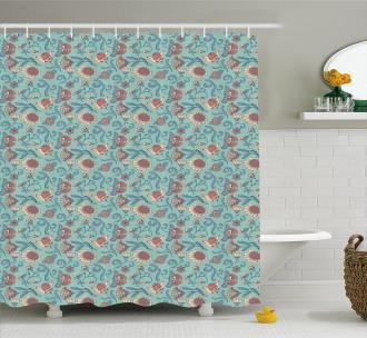 Woodland Floral Design Shower Curtain