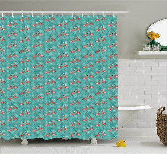 Birds Exotic Foliage Shower Curtain
