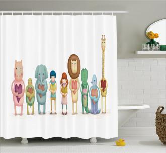 Animals Boy Girl Heart Shower Curtain