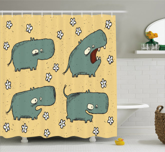 Comic Hippo Floral Grungy Shower Curtain
