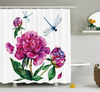 Peonies and Dragonflies Shower Curtain