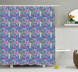 Grunge Colorful Bugs Shower Curtain