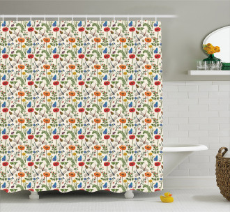 Bugs Plants Flowers Shower Curtain