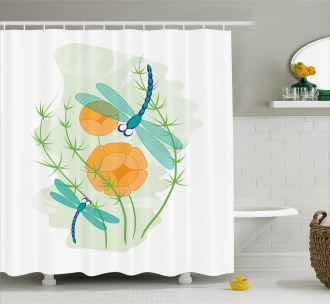 Colorful Nature Bugs Shower Curtain