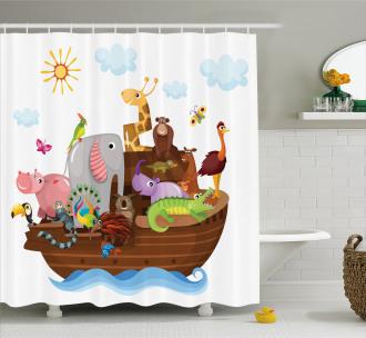 Animals in Ship Cartoon Shower Curtain