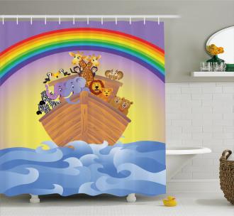 Animals Ship Rainbow Shower Curtain