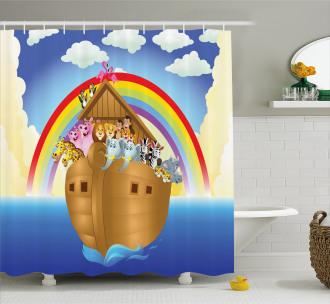 Clouds Animals Ship Shower Curtain
