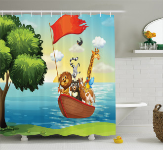 Animals Ark on Shore Shower Curtain