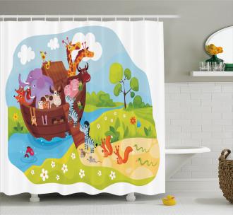 Animals Boarding Ark Shower Curtain