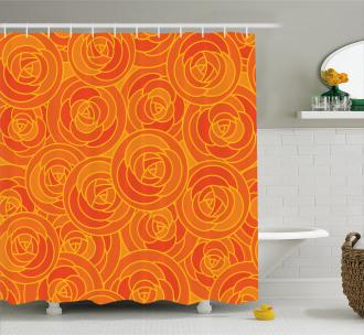 Outline Roses Autumn Shower Curtain