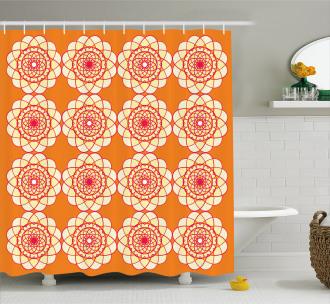 Retro Spirographic Shower Curtain