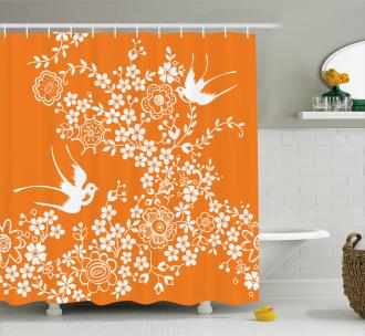 Flowers Birds Shower Curtain