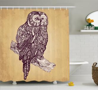 Artistic Bird Vintage Style Shower Curtain