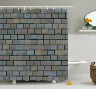Stained Stone Brick Shower Curtain