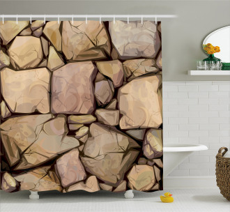 Cottage Stone Wall Shower Curtain