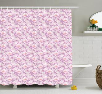 Pastel Flower Blooms Shower Curtain