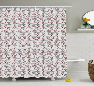 Linear Drawn Blooming Shower Curtain