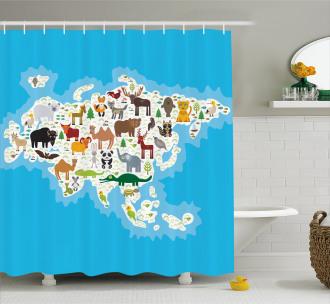 Eurasian Fauna Bear Fox Shower Curtain