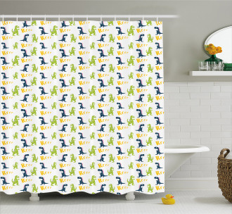 Happy Cartoon Dino Shower Curtain
