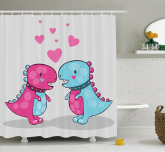 Lover Couple Hearts Shower Curtain