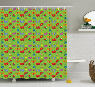 Colorful Bugs Insects Shower Curtain