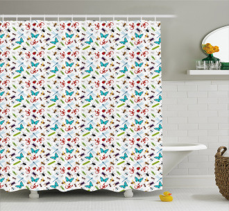 Colorful Insects Bugs Shower Curtain