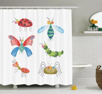Hand Drawn Bug Pattern Shower Curtain