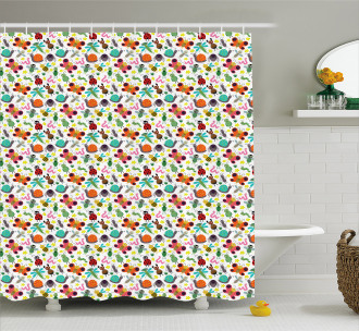 Colorful Summer Insects Shower Curtain