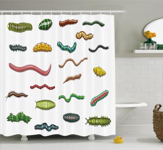 Cartoon Caterpillar Shower Curtain