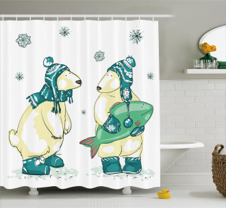 Friends Fish Xmas Shower Curtain