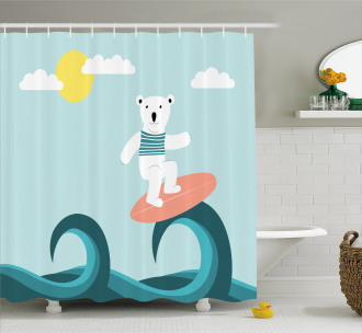 Surfing on Waves Shower Curtain