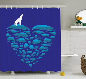 Ice Abstract Heart Shower Curtain