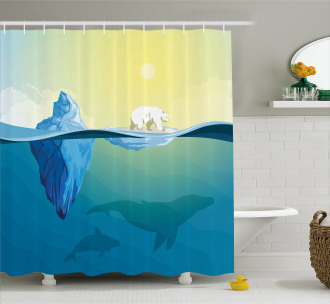 Ice Melting in Ocean Shower Curtain