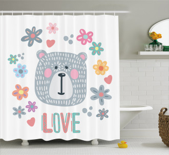 Funny Doodle Face Shower Curtain
