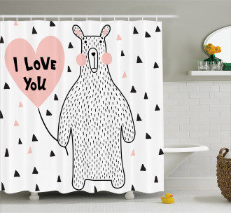 I Love You Balloon Shower Curtain
