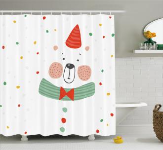 Xmas Bear Party Hat Shower Curtain