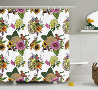 Leaves and Sunflowers Shower Curtain