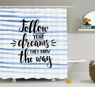 Calligraphy on Stripes Shower Curtain