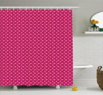 Doodle Pink Love Symbols Shower Curtain