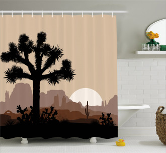 Joshua Tree Morning Scene Shower Curtain