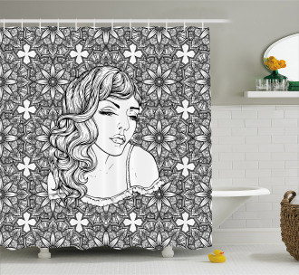 Young Lady with Wavy Hair Shower Curtain