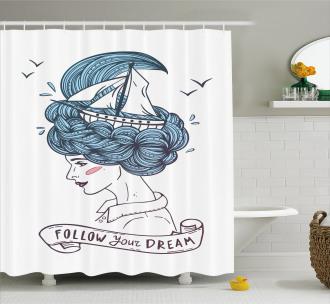 Girl with Blue Hair Shower Curtain