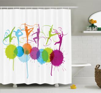 Ribbon Dance Pattern Shower Curtain