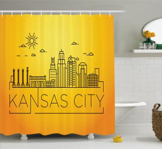 Minimal Linear City Shower Curtain