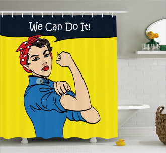 We Can Do It Woman Shower Curtain